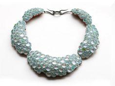 Terhi Tolvanen   2005 - 2006  Mossy Blue  2006,necklace ø 18cm wood, glass, textile, silver