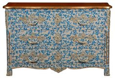 """Malvaux 52"""" Patterned Chest, Blue/Gold"""