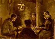 analysis of the potato eaters by Peasant family at the table was a theme explored at that time but the right painting, 1882, by josef israels is known to have influenced the potato eaters.