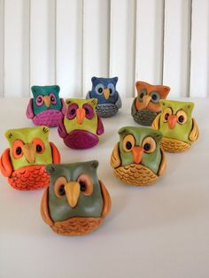 Polymer Clay Owl Sculpture by ClayCottage on Etsy, $11.00