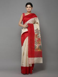 Off White Red Handwoven Banarasi Tussar Saree