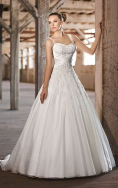 Soft Organza over Satin Wedding Dress Delicate Embroidery with Jewel Accent B039