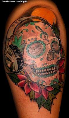 Tatuaje de Sugar Skull, Auriculares, Flores