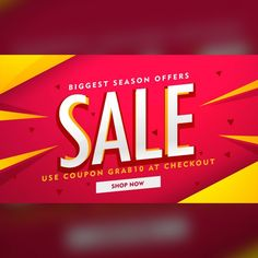 Red discount voucher with yellow geometric shapes Free Vector