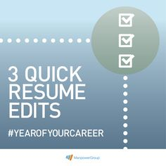 3 things to do to your resume right now. #Jobs #YearOfYourCareer