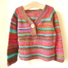 This is a casual top down sweater for babies and children, which is loose and a great way to show off self striping yarn to its very best. Although the sweater is seamless, I have added false seams at the sides for interest. The pattern is straightforward and easy to follow as long as you can knit in the round and cast on provisionally. It suits both boys and girls and with 6 sizes given and no more than 250g of 8ply/double knitting yarn needed, it is a pattern which can grow with your…