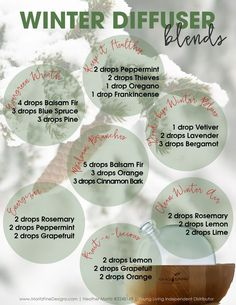 Use Winter Diffuser Essential Oil Blends to fill your home with wonderful immunity boosting smells that include frankincense pine & more. - Essential Oil Diffuser - Ideas of Essential Oil Diffuser Essential Oil Diffuser Blends, Doterra Essential Oils, Frankincense Essential Oil Uses, Pine Essential Oil, Oregano Essential Oil, Bergamont Essential Oil Uses, Diy Candles Essential Oils, Essential Oil Christmas Blend, Cinnamon Bark Essential Oil