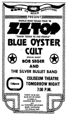 ZZ Top, Blue Oyster Cult and Bob Seger. What a show this must of been. Tour Posters, Band Posters, Rock & Pop, Rock N Roll, I Love Music, Music Is Life, Blue Oyster Cult, Pops Concert, Vintage Concert Posters