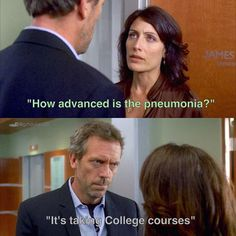 97 Seconds: Season 4 Episode 4: originally broadcast on Fox on October 9, 2007 | Dr. Gregory House (Hugh Laurie) and Dr. Lisa Cuddy (Lisa Edelstein)