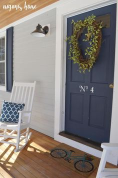 Front Door Paint Colors - Want a quick makeover? Paint your front door a different color. Here a pretty front door color ideas to improve your home's curb appeal and add more style! White Exterior Houses, Grey Exterior, Exterior Paint Colors For House, Paint Colors For Home, Navy House Exterior, Exterior Design, Light Blue Houses, Grey Houses, Modern Houses