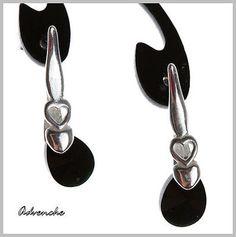 Black Jet Earrings Sterling Silver 925 Hooks Genuine by Advenche, £8.99