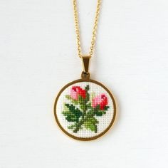 Embroidered red rose flower necklace, Cross stitch jewelry pendant for women, Mother birthday gift from daughter Red pink bouquet rosebud embroidered necklace, Flower jewelry pendant for women, Mothers Day gift fr Pink And Blue Flowers, Red Rose Flower, Red And Pink, Pink White, Pink Roses, Pink Blue, Mother Birthday Gifts, Mother Gifts, Daughter Birthday