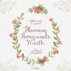Pomegranate Watercolor Wreath & Bouquets Hand от ReachDreams