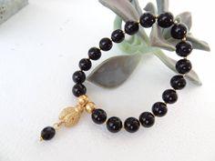 Black Onyx Bracelet,Lady Bug Bracelet,Gold Bracelet,Gothic Bracelet,Onyx in Black Bracelet,Stone Jewelry,Charm Bracelet,Christmas Gift by sevinchjewelry on Etsy