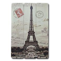 Cuadro Rectangular de madera con impreso de Torre Eiffel en blanco y negro de 60x90x1.2cm