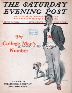 1903 J Gould College Man English Bulldog 6/6/03 Saturday Evening Post Cover Only