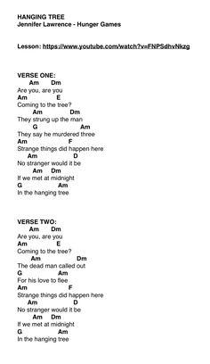 """hanging tree"" - jennifer lawrence from the hunger games [ukulele] h. ""hanging tree"" - jennifer lawrence from the hunger games [ukulele] hanging tree - jennifer lawrence from Ukulele Chords Disney, Ukulele Songs Beginner, Guitar Chords For Songs, Music Chords, Ukulele Tabs, Piano Songs, Free Guitar Lessons, Guitar Lessons For Beginners, Jennifer Lawrence"