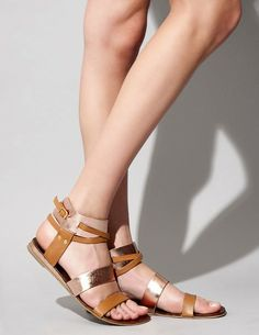 Copper buckle up sandal $95.00