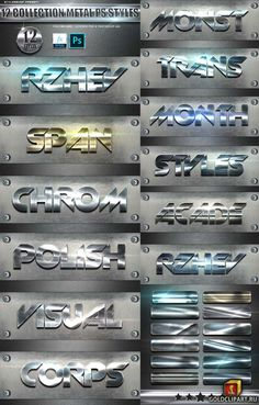 12 Collection Metal Photoshop Text Styles Vol 3 24783635 Photoshop Actions, Adobe Photoshop, Typography Fonts, Lettering, Calligraphy Text, Header Design, 3d Text, Word Design, Text Style