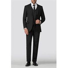 3 Piece Suit Wedding, Black Suit Wedding, Formal Suits, Men Formal, Black Tuxedo, Black Suits, Funeral Suit, Black Three Piece Suit, Suits Direct