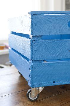 kiste himmelblau - vintage - shabby chic  alte obstkisten, gereinigt & neu lackiert. an den griffseiten immer jeweils 1x etikette leer (stempelbi...