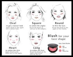 Use this handy chart to figure out how to best apply blush for your face shape. | 19 Blush, Bronzer, and Highlighter Tips Every Beginner Should Know