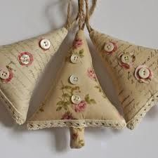 christmas shabby chic crafts~Made from handstamped and aged fabrics finished with a crochet lace and three vintage Mother of Pearl buttons.     Natural twine hanging loop.     Filled with polyester stuffi...