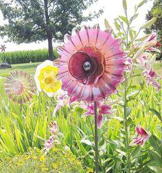 Purple Garden Art Yard Decor Glass Plate Flower