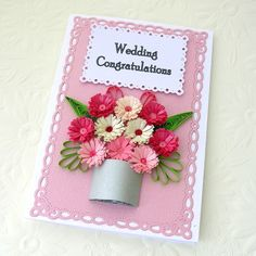 Quilling Card Paper Quilled Personalized Birthday Wedding Congratulations Anniversary Silver Pot Pink Flower Handmade by Enchanted Quilling. $7.50, via Etsy.