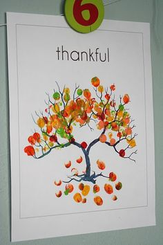 Thankful Tree Use acrylic paint to fingerpaint leaves on a tree. You can add a…