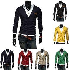 Men Casual Fashion Slid V Neck Warm Knitted Coat Jacket Blazer Outwear Cardigan