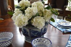 Setting a blue and white table…. - The Enchanted Home breakfast room table