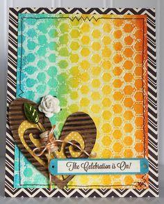 Celebration Card by Ronda Palazzari Jillibean Soup's Soup Staples II Patterned Paper, Birthday II Soup Labels, Unity/Jillibean Soup Hexies Stamp, and Baker's Twine (via the Jillibean Soup blog).