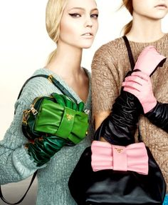Part of the Prada Fall 2007 advertising campaign (cropped image). Model: Sasha Pivovarova. Photographer: Steven Meisel.