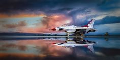U.S. Air Force Thunderbird No. 8 is parked prior to the annual Los Angeles County Airshow at Fox Field in Lancaster, California, after the passage of a serious squall.