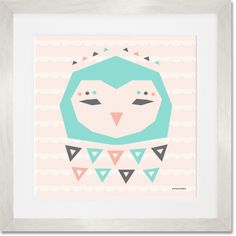 """Geo Animals - Owl"" Giclee Art Print in White Wooden Frame by Sass & Peril for Oopsy Daisy: $29 - $199"