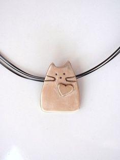 Cat Pendant, Modern Design out of Pure Bronze, Whimsical Kitty | GildedOwlJewelry - Jewelry on ArtFire