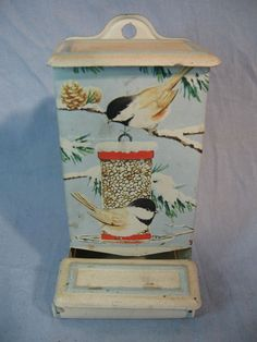 Chickadee motif match holder Vintage Stuff, Retro Vintage, Vintage Items, Decoupage, Match Boxes, Chickadees, Unusual Things, Antique Metal, Wall Pockets