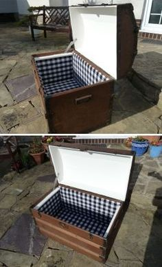★ HOW TO Revamp Vintage Wooden Chest   Fabric & Wood Panel Lining Craft Tutorial ★