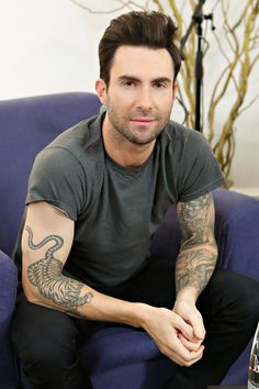 Pin for Later: The Ultimate Celebrity Tattoo Gallery Adam Levine Adam Levine has a tattoo sleeve on his left arm and a large tiger design placed on his right forearm.