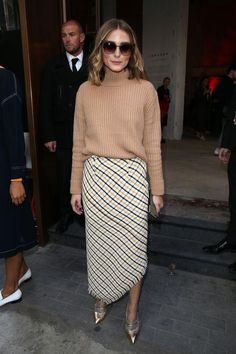 Olivia Palermo wearing Fendi Iridia Cat-Eye Sunglasses, Topshop Cutout Wool Sweater and Topshop Boutique Gingham Spiral Skirt