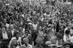 Anti-racism protesters gather to block route of National Front demonstration | New Cross Road, SE14 | Paul Trevor | 1977