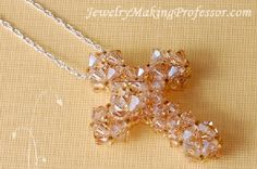 Crystal Cross Pendant Beading Tutorial