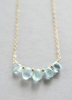 Smooth moss aquamarine pebble necklace. By Kahili Creations of Hawaii...
