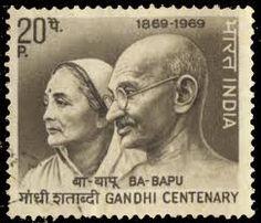 Francobollo Indiano con il Mahatma Gandhi e sua moglie Kasturba