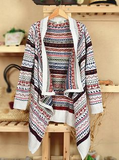 White Long Sleeve Asymmetrical Cardigan Sweater