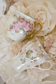 Two Beautiful Vintage Demitasse Porcelain Cups by Jenneliserose