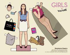 """girls"" paper dolls (shoshanna), vulture and kyle hilton"