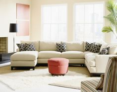 Crisp contemporary modular sectional sofa can be rearranged to fit your living room design.