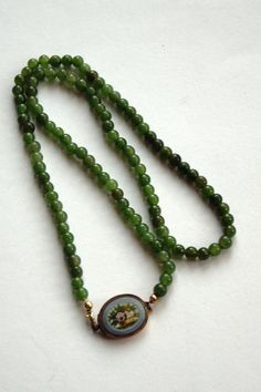 Floral Micro Mosaic Jade Necklace 14k Gold Lock